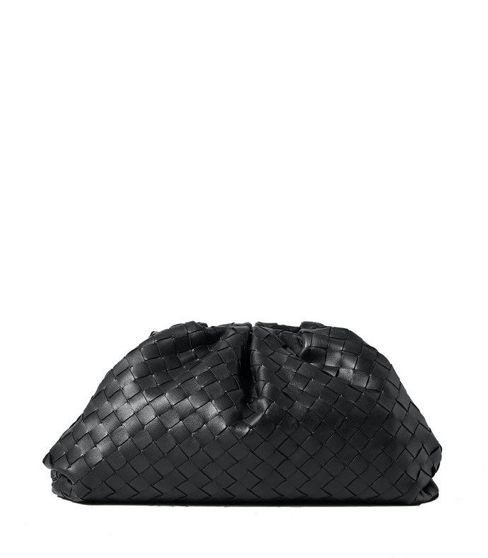 the pouch large gathered intrecciato leather clutch