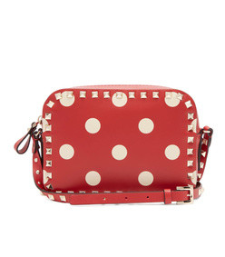 rockstud camera polka-dot leather crossbody bag
