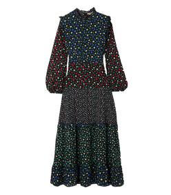 billie ruffled tiered midi dress