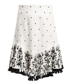 tali embroidered linen skirt