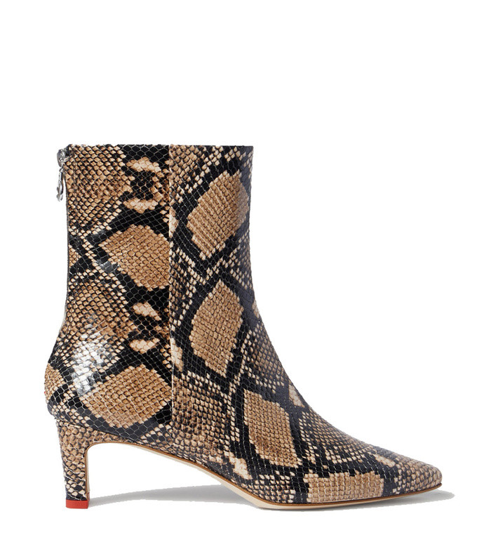 ivy snake-effect leather ankle boots