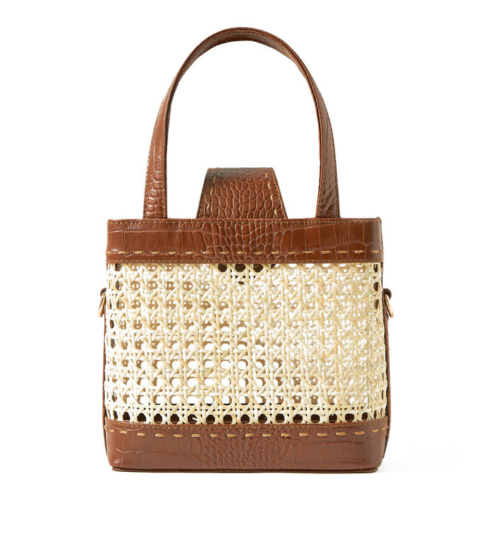 fey mini rattan and croc-effect leather tote