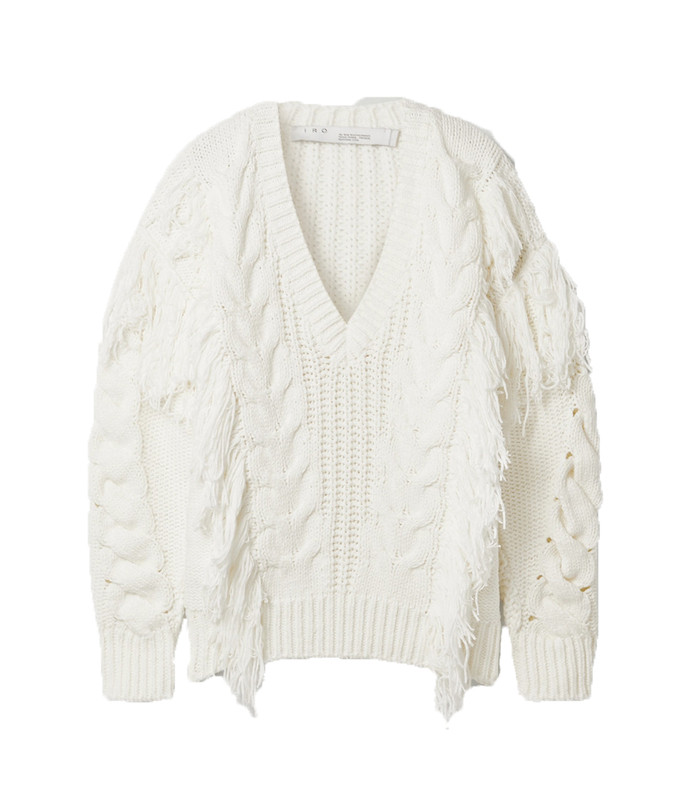 wynd fringed cable-knit cotton-blend sweater