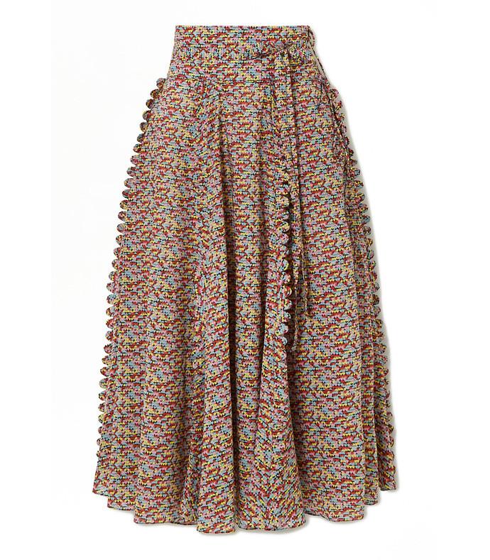 james scalloped printed cotton-poplin midi skirt
