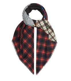 patchwork wool-blend scarf