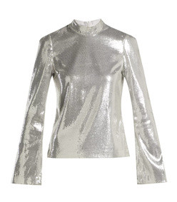 galaxy long-sleeved sequinned top