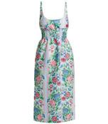 giovanna floral print shirred cloqué dress