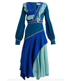 tassel-trimmed panelled silk gown