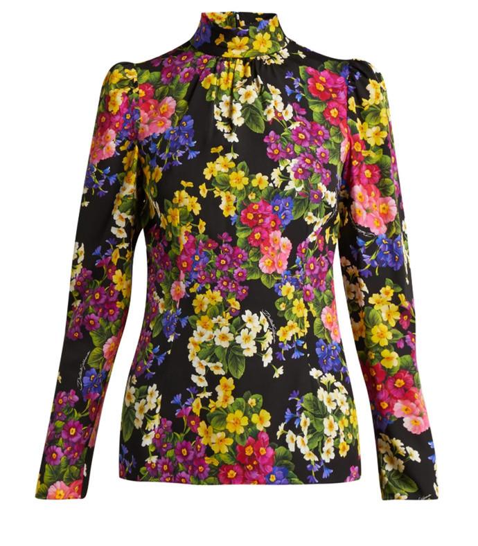 primrose-print silk-blend blouse