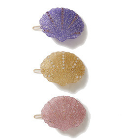 kiki set of three crystal-embellished glittered resin hair clips