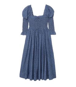 bijou smocked floral-print cotton-blend dress