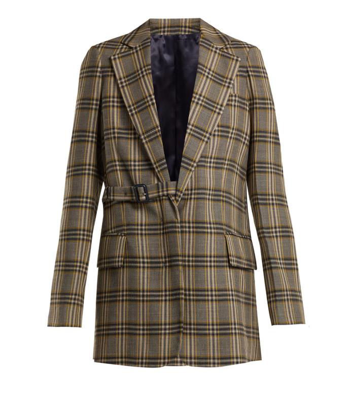 gemina single-breasted checked wool blazer