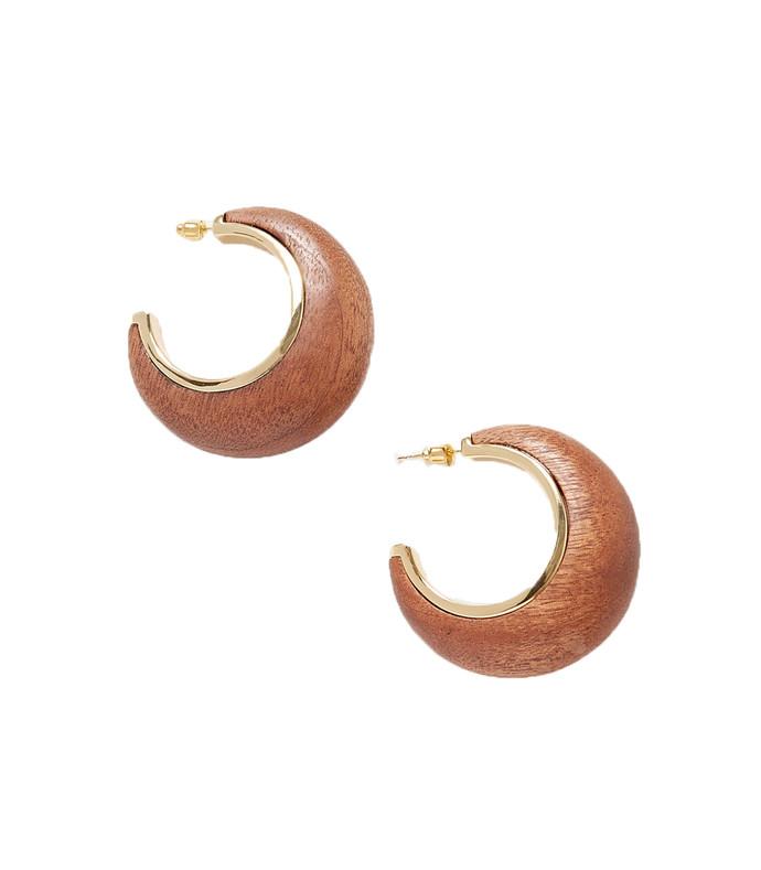 mona gold-tone wood hoop earrings