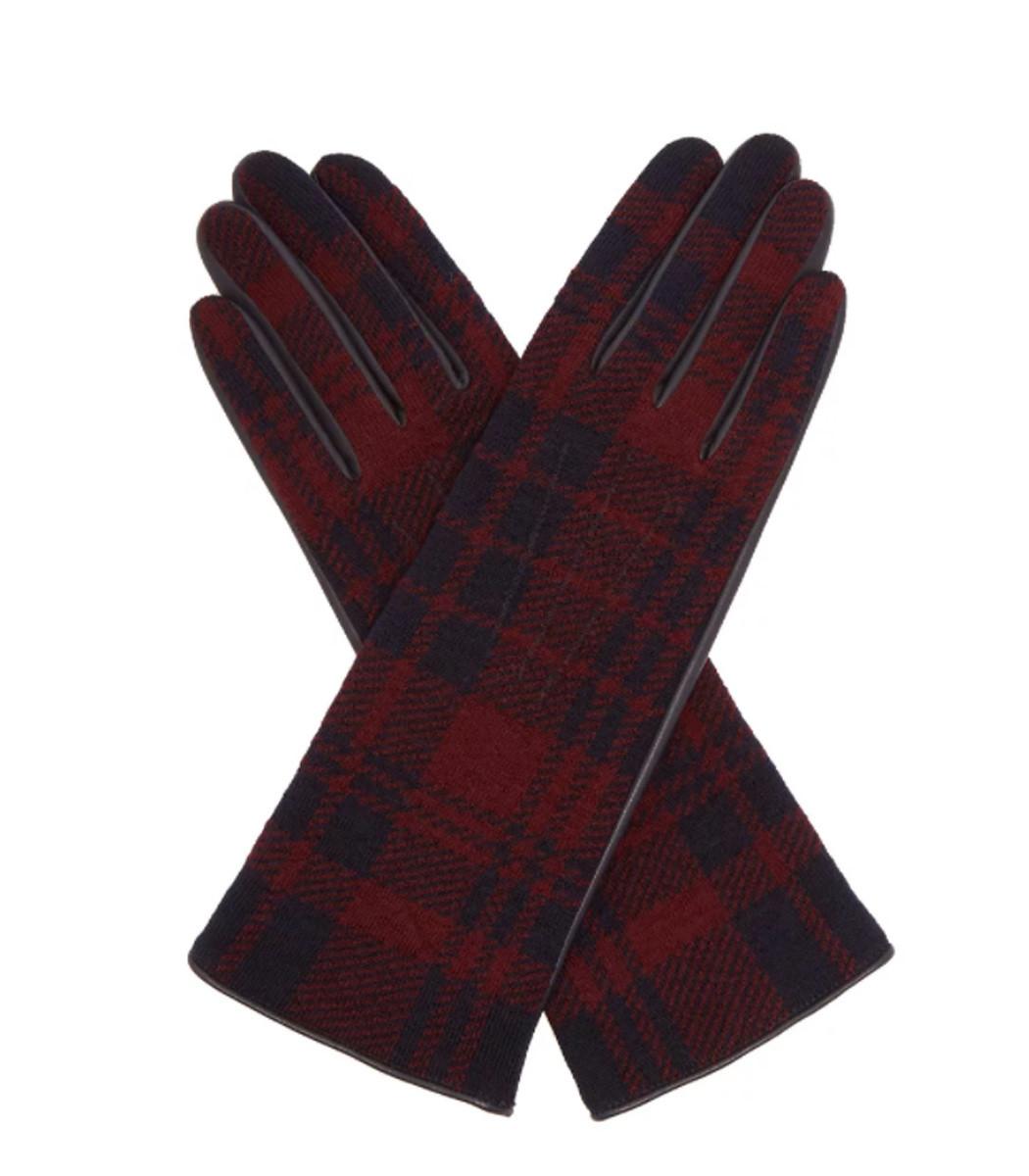 Sonia Rykiel Tartan Wool and Leather Gloves