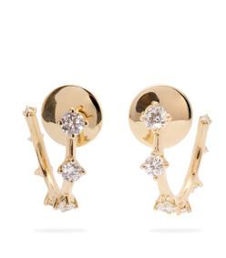 sequence 18kt gold diamond hoop earrings