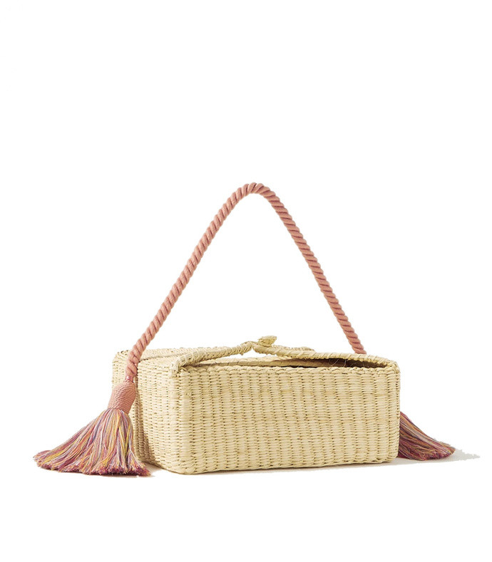beatrice tasseled woven straw tote