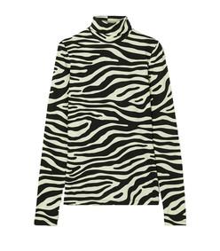zebra-print stretch-cotton jersey turtleneck top