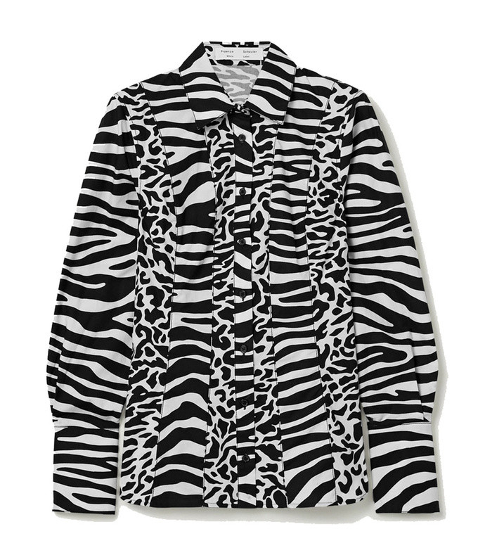 animal-print cotton-poplin shirt