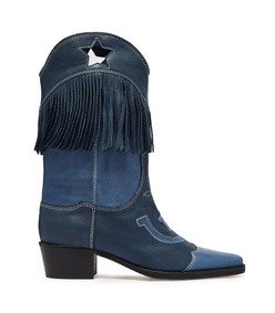 tove fringed leather western boots
