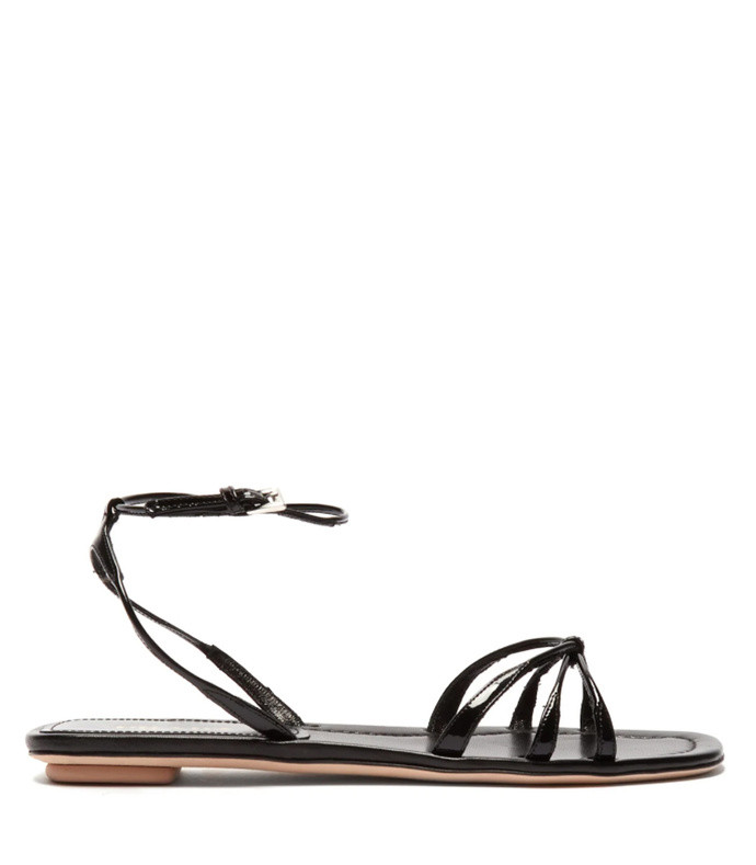 knot-front patent-leather sandals