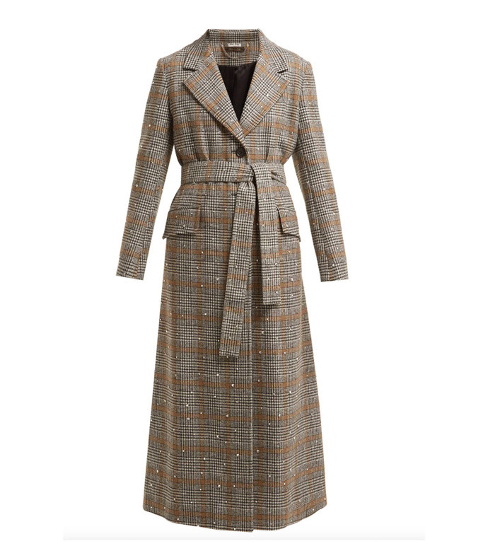 prince of wales-check crystal-appliqué wool coat
