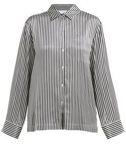 striped sand-washed silk-satin pyjama shirt