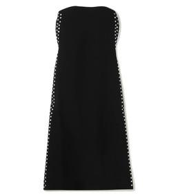 strapless embellished cady midi dress
