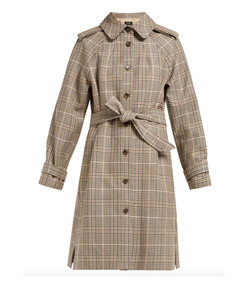 ava checked cotton-twill trench coat