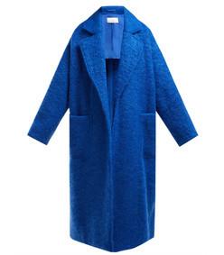 dropped- shoulder wool-blend blanket coat