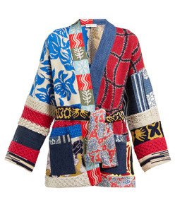 belted patchwork jacquard-knit cardigan