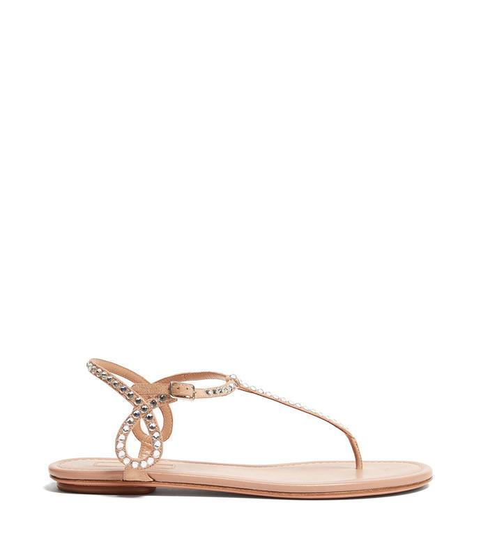 almost bare crystal embellished leather sandals
