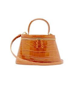 annie crocodile-effect leather bag