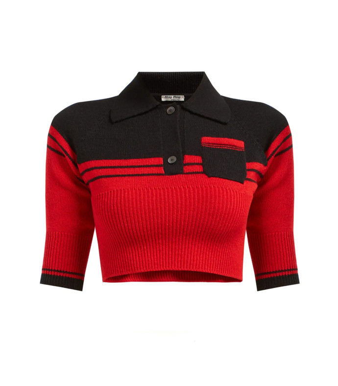 block-color cropped cashmere sweater