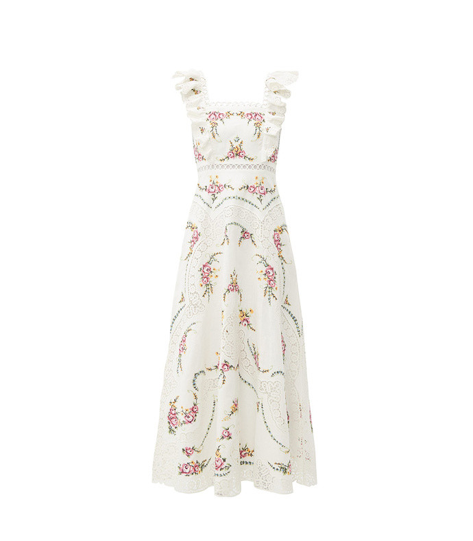 allia floral cross-stitch linen-blend midi dress