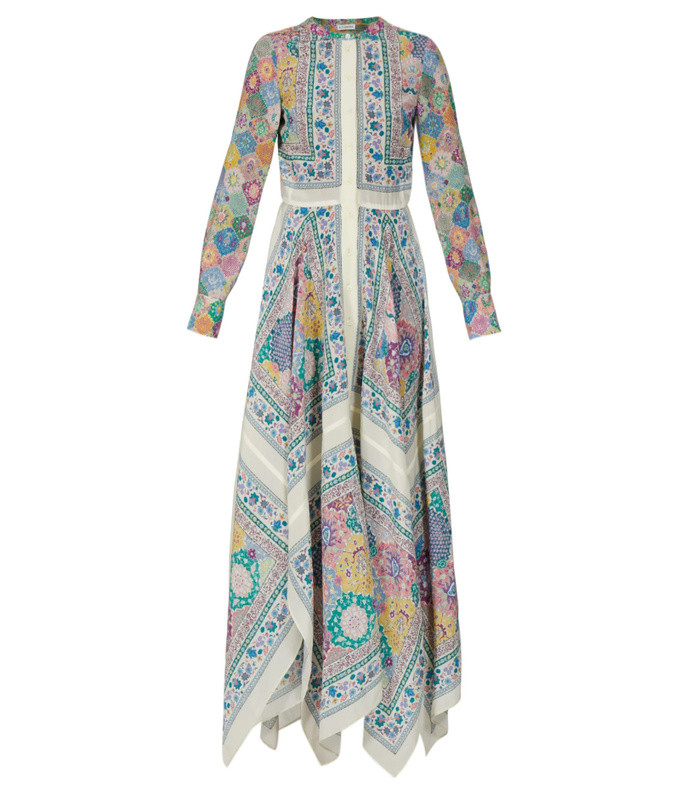 tamourine asymmetric printed gown