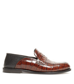 collapsible-back crocodile-effect leather loafers