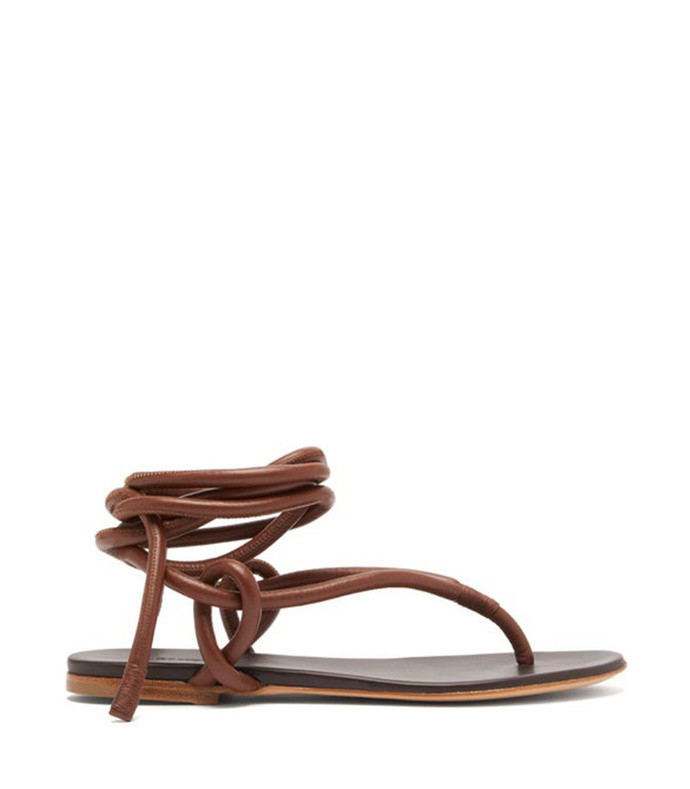 wraparound ankle strap leather sandals