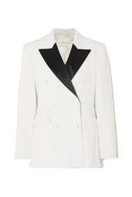 augustina double-breasted satin-trimmed twill blazer