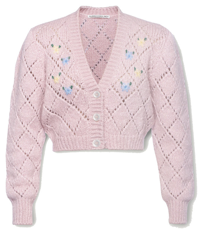 cropped embroidered pointelle-knit alpaca-blend cardigan