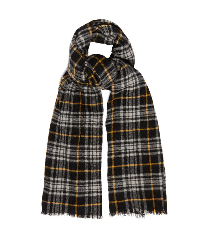 simona checked wool-blend scarf