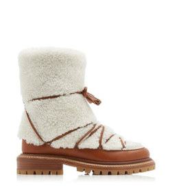 very aspen shearling and leather ankle boots