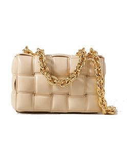 cassette chain-embellished padded intrecciato leather shoulder bag