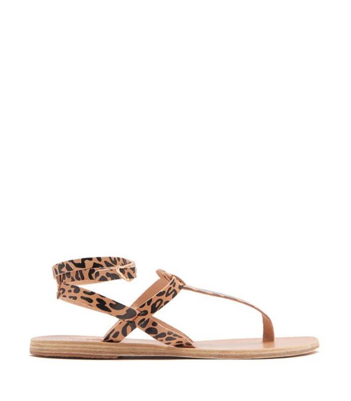 estia leopard print leather sandals