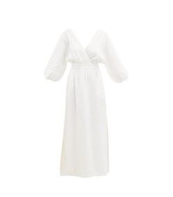 nami balloon-sleeve linen maxi dress