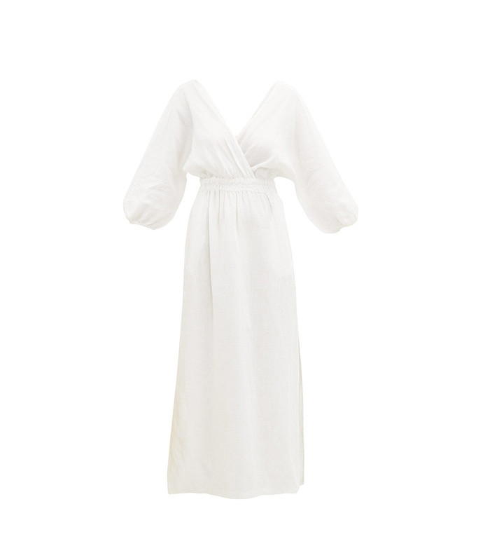 nami balloon-sleeve linen maxi dress