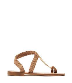 angela chain plaited-suede sandals