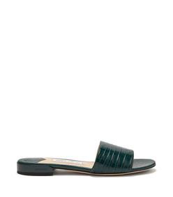 joni crocodile-effect leather slides