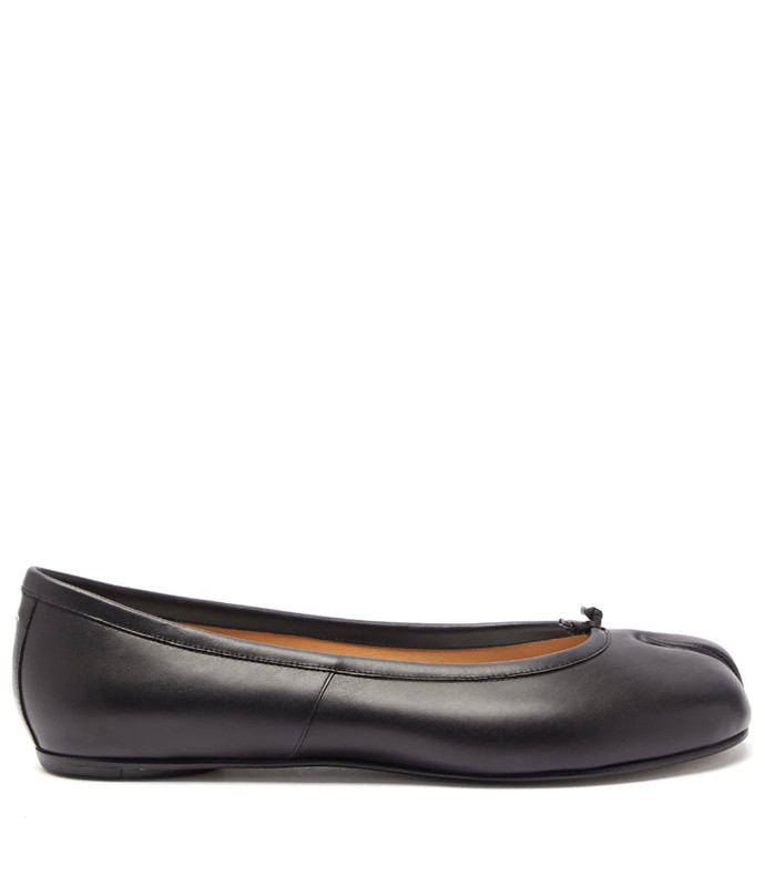 tabi split toe leather ballet flats