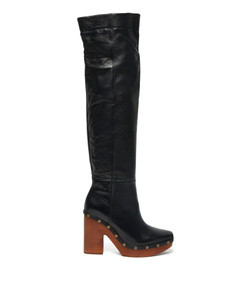 sabots leather over the knee boots