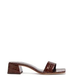 courtney square-toe crocodile effect leather mules